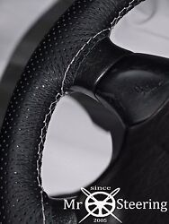 True Perforated Leather Steering Wheel Cover For Volvo Vnl 780 White Double Stch