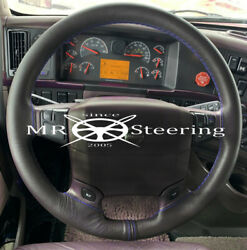 True Leather Steering Wheel Cover For Volvo Truck Vnl 770 Royal Blue Double Stch