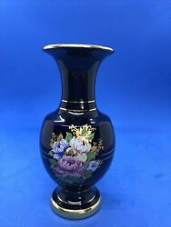"""Vintage Black Hand Painted Vase W/24k Gold—made In Greece—stamped With An """"s"""""""