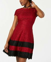 Teeze Me Juniorsand039 Lace Fit And Flare Dress Red