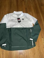 Nike Mens Michigan State Spartans Lightweight Coach's Jacket White Green Xl Nwt