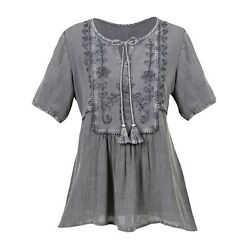 CATALOG CLASSICS Women#x27;s Peasant Blouse Tunic Top Over Dyed Floral Embroidered
