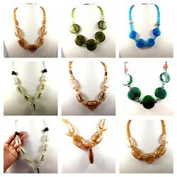 Dichroic Glass Gemstone Free Shipping Designer Necklaces Jewelry P59-p72
