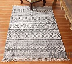 Hand block Printed Cotton Handwoven Home Rug Traditional Yoga Rugs New Carpets