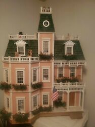 Vintage Victorian Exquisite Pink Miniature Doll House W/ Lights Furniture