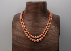 Vintage Natural Coral Double Strand 14k Yellow Gold Vintage Necklace