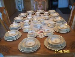 Paden City Pottery Vintage 1940and039s Rose Spring Bouquet Pattern 85 Piece Grouping