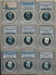 1973-2019 Proof Kennedy Half Dollars-48 Coins-all Pcgs Graded Pr69dcam-free S/h