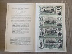 1870-1880 Abnc Hand-printed Four-up Currency Sheet City Council Of Brunswick Ga