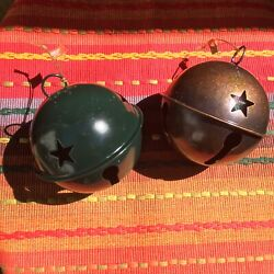 """10 Large Rustic Jingle Bell 3.5"""" Primitive Country Christmas Ornaments New"""