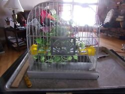 Crown Bird Cage White With Yellow Plastic Feeders Pull Out Tray Vintage