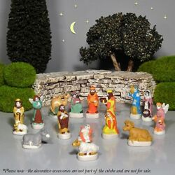 Vintage French Provence Feves, Miniature Creche, 15 Santons, Nativity Figurines
