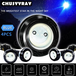 4x Blue Led Truck Offroad Car Grille Lights For Ram Chevy Ford Wheel Eagle Light