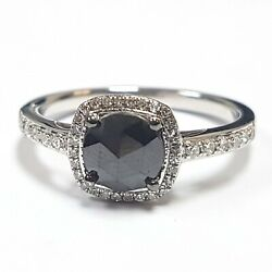 Clearance 1.50 Carat Black And White Diamond Halo Ring Crafted In White Gold
