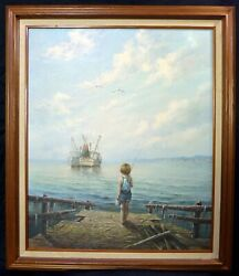 David Cox R.w.s Nautical Oil Painting Of Boy Fishing At Sea With Ships 1783-1859