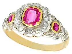 Antique Victorian Synthetic Ruby And Diamond In 18k Yellow Gold - Size 7