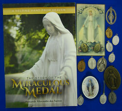 Lot Religious Catholic Mary Miraculous Medal Book Medals Holy Card Clip Scapular
