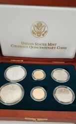1992 Columbus Quincentenary Six Coin Silver And Gold Proof And Unc In Ogpandnbsp