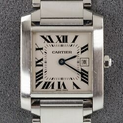 Stainless Steel Midsize Womenand039s Tank Francaise Watch 2465 W/ Date