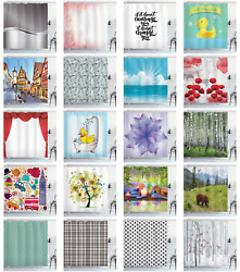 Ambesonne Fabric Cloth Shower Curtain In 3 Sizes Bathroom Decor Set And Hooks