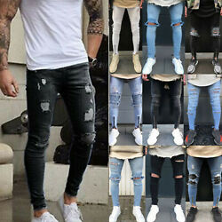 Mens Slim Fit Jeans Super Stretch Denim Pants Ripped Casual Skinny Trousers Us