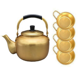 2liter67.6ouncenickel-silver Plated Aluminum Yellow Kettle ,4 Bowls With Hand