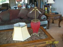Pittsburgh Double Dolphin Victorian Ruby Satin And Brass Parlor Lamp