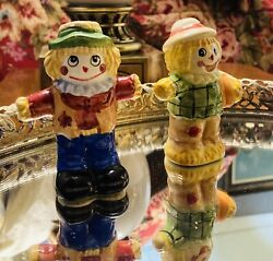 Vintage Scarecrow Salt And Pepper Shakers Fall Harvest Clowns
