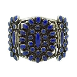 Native American Jewelry Cuff Bracelet Sterling Lapis Blue Navajo Cluster Signed
