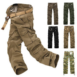 Mens Zip Army Pants Cargo Tactical Military Work Camo Combat Outdoor Trousers Us