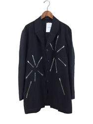 Yohji Yamamoto Pour Homme 19ss Look9 Menand039s Silk Zip-up Coat Black Size-3 5039