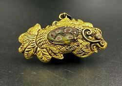 Antique Vintage Jewelry Gold Pendant With Mosaic Glass Bead Ancient Romanand039s