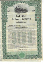 Pennsylvania 1912 Eagles Mere Railroad Company Bond Stock Certificate