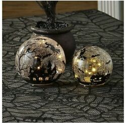 Crackled Glass Effect Lighted Halloween Orb Crystal Ball With Fairy Lights