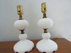 2 Vintage Fenton Hobnail White Milk Glass Table Lamps W Brass Works 11 In.