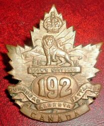 Cap Badges-ww1 Canadian Cef 192nd Crows Nest Pass Ref Charlton 192-2