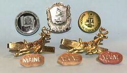 Lot Of Vintage Maine Pin-back Buttons Tie Clips Elks Club Bpoe