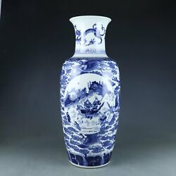 Chinese Exquisite Handmadethe Ancients Crane Blue And White Porcelain Vase