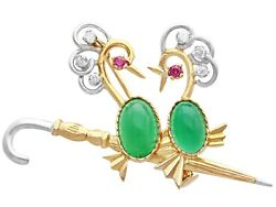 2.71ct Chrysoprase, 0.42ct Diamond And Ruby, 18ct Yellow Gold Brooch - Vintage