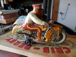 Marx Toys Vintage Motorcycle Wind Up Works Rolls / Siren Not Working