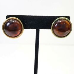 Monet Earrings Gold Colored Tone Brown Amber Color Acrylic Button Career