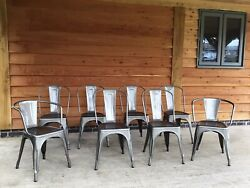 Genuine Tolix Steel Chairs - Set Of 8. Made In France