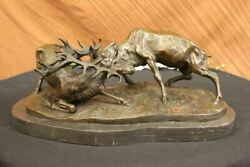 Bronze Marble Statue Elk Deer Stag Ranch Hunting Lodge Hot Cast Hand Made Statue