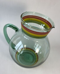 """Vintage Glass Pitcher Margarita Juice Red Yellow Green Striped Bubble Barware 8"""""""