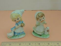 2 Vintage Homco Little Girl Porcelain Figurines Goose Puppy Made in Taiwan