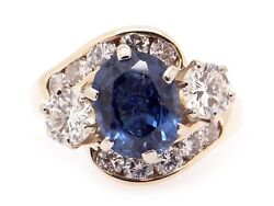 14k Yellow Gold 3.30ct Oval Cut Sapphire Diamond Halo Cluster Band Ring Size 7