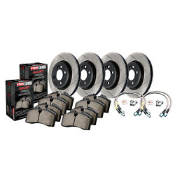 Stoptech 977.47015 Sport Rotors/pads/hose Line Kit Slotted E-coated Black