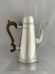 Large Solid Silver Queen Anne Style Coffee Pot 1982 London S J Phillips Sterling