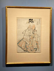 Original Japanese Woodblock Print Titled Courtesan And Her Attendent