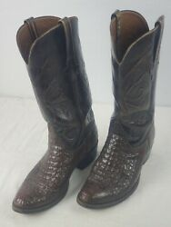 Lucchese Vintage Crocodile Tail Cowboy Boots, Size 8 2e